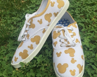 Gold mickey head shoes