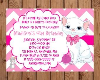 Cat Invitation, Kitty Invitation, Pink Cat Party, Cat Birthday Invite, Kitty Birthday Invite, Digital Invitation, Printable Invitation