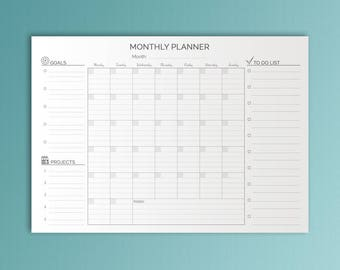 A2 Monthly Planner Printable Planner Monthly To Do Wall Calendar Wall Monthly Planner Monthly Goals A2 Planner