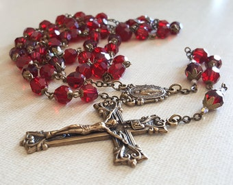 Red Swarovski Crystal Catholic Rosary Deep Red Blood of the Martyrs Brass Crucifix