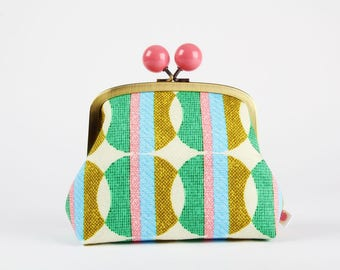 Metal frame clutch bag - Vintage interior - Color bobble purse / Japanese fabric / Retro fabric / Large dots / Gold green blue pink