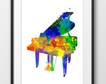 Piano Print, Piano Watercolor Print, Music Wall Art, Music Poster, Music Instrument Poster, Piano Art (A0261)