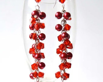 Glass and Pearl Cluster Earrings, Valentine's Berry Earrings