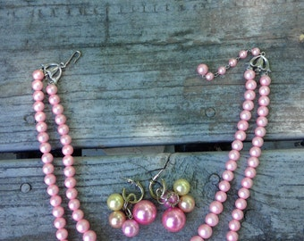 Vintage Pink Pearls Necklace and Pierced Earrings set