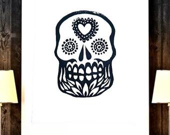 Dia de los Muertos Decor Esqueleto Skull Wall Art, Mexican Skull Print Day of the Dead Art, Calavera Sugar Skull Decor Day of the Dead Art