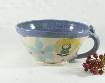 Handmade soup bowls with handle Soup mug Latte cup Save the Bees Cappuccino Mug Ceramic Mug Handmade Unique Coffee Mugs Cereal Bowl