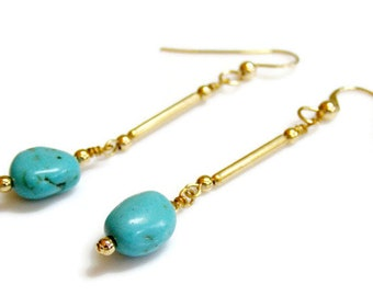 Turquoise Nugget Earrings with 14K Gold Fill. Turquoise Wedding or Birthstone Gift. Simple Turquoise and Gold Earrings. Gift For Her.