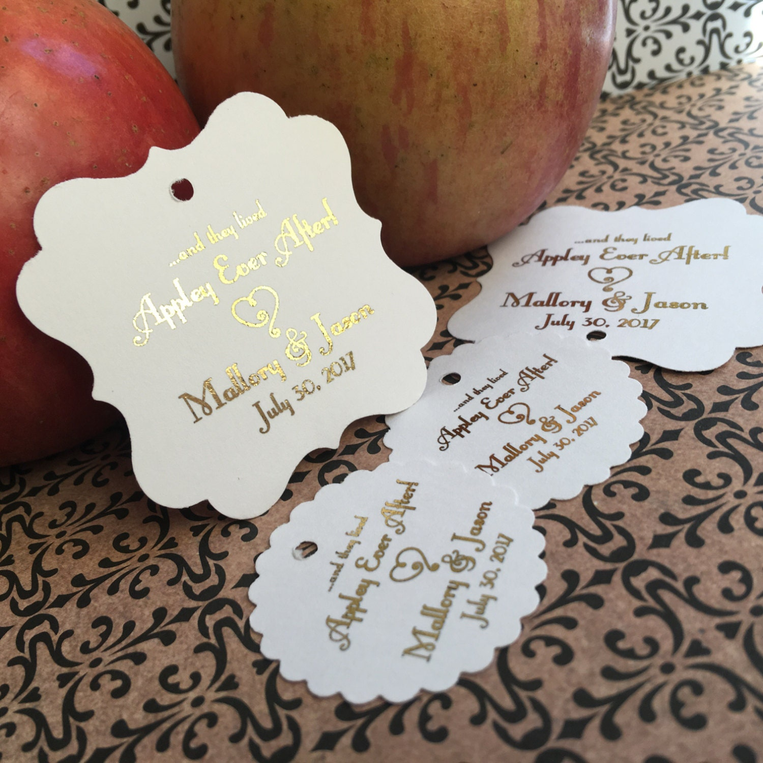 Wedding favor tags, favor tags, caramel apple favors, appley ever ...