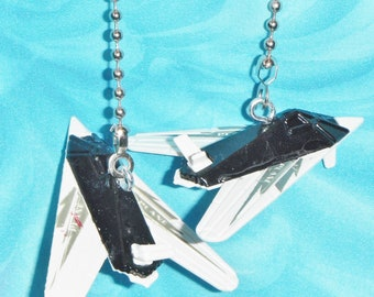 Set of Two ~ DIECAST Black FIGHTER JETS Aviation ~ Ceiling Fan Pull Chains