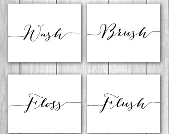 Bathroom Decor - 8x10 (Set of 4) Wash Brush Floss Flush Bathroom Wall Art, Bathroom Prints, Bathroom Rules, Printable Art