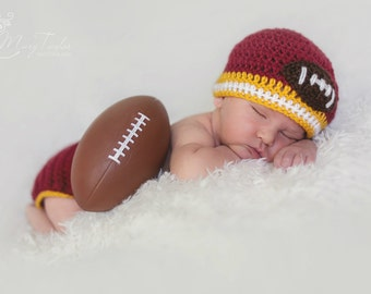 USC Baby Diaper Cover and beanie cardinal red, gold, white (football beanie baby gifts photo prop newborn diaper cover and hat) choose team