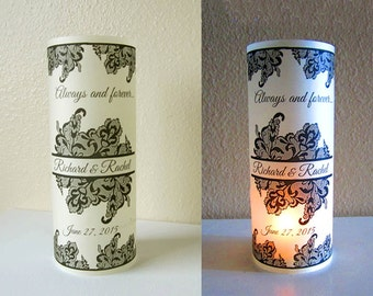 12 Personalized Damask Wedding Centerpiece Luminaries Table Decoration