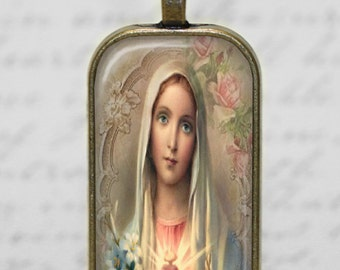 Religious Catholic Pendant Virgin Mary Immaculate Heart Necklace