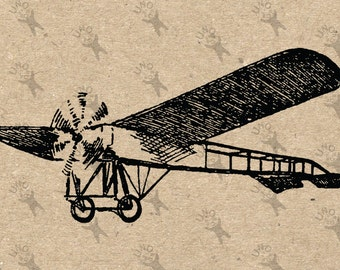 Vintage Airplane Aircraft Aviation Digital printable Instant Download picture clipart  graphic for transfers, iron on, burlap etc HQ 300dpi