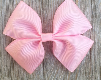 Light Pink Stacked Grosgrain Ribbon Hairbow for Girls Back to School everyday wear, Hair clip or Baby headband