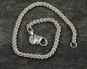 dominica - chain maille bracelet for silver core or big hole beads - including all European bracelet systems - sterling silver