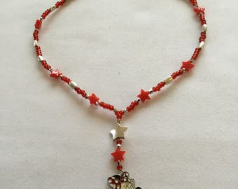 Minnie Mouse red beaded necklace