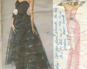 Vogue 1853 Designer Original Evening Gown Bellville Sassoon Sewing Pattern