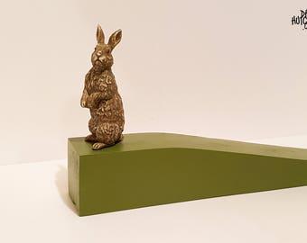 Rabbit / Hare Wooden Door Stop - Indoor / Outdoor