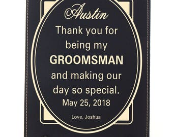 Gifts for Groomsmen - Gift for Groomsman - Wedding Thank You Gift for Best man Personalized - Wedding Favors - Plaque, LPW003
