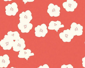 CORAL POPPIES -  ORGANIC Knit Fabric from Birch Organics Elk Grove Knits Collection- Remnant