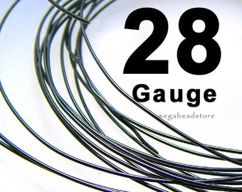 28 Gauge Dark Oxidized GunMetal Color 925 Sterling Silver Wire  -20 Ft