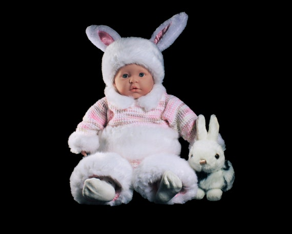 Bunny Rabbit Baby Outfit,  Easter Outfit, Bunny Costume, Crochet, Holiday Bunny Set, Baby Clothing, 0 to 3 Months, Baby Gift Set, Bunny Suit