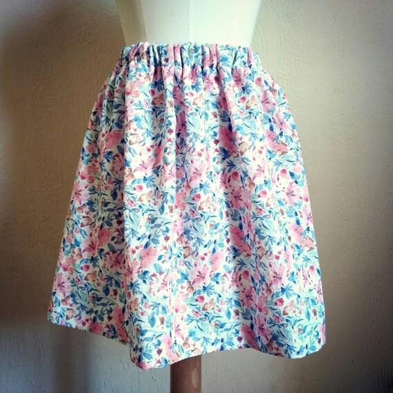 Short women summer floral skirt, waist elastic, cotton and linen blend skirt. Pink and blue flowers skirt. Romantic and Retro. France