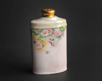 Vintage Hand Painted Porcelain Talc Powder Flask Shaker Pearlescent / Opalescent / Lusterware Talcum Container Butterflies & Pink Daisies