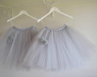 Pom pom girls tutu, girls tutu skirt, flower girl tutu, flower girl dress, wedding tutu, tulle skirt, adult tutu, baby tutu, birthday tutu