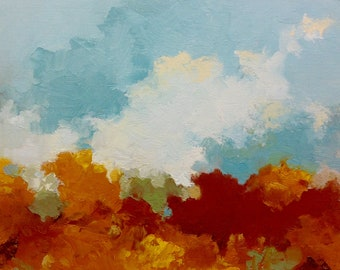 "FALL RISING, oil painting, landscape, original, 100% charity donation, 9""x12"" canvas panel, clouds,"