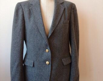 Vintage Grey Wool Blazer Jacket // Gold Shield Buttons