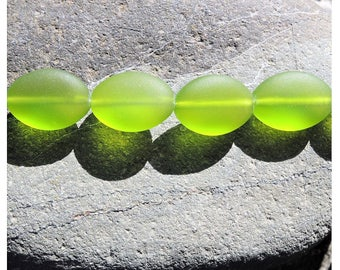 Cultured sea glass oval puffed  beads, olive 18x13 mm, 6 pcs