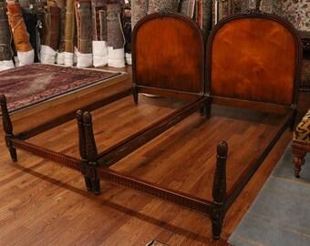 Gorgeous Hand Carved French Louis XVI Walnut Twin Single Beds MINT 1920s Era