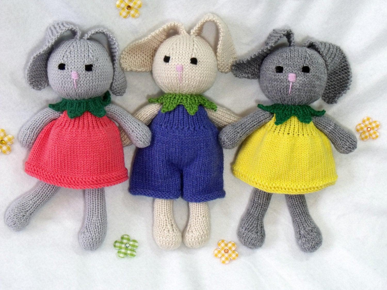 Toy doll bunny knitting pattern. Cuties. Flower bunny. Floppy