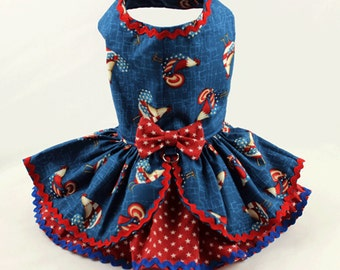 Dog Dress, Dog harness dress, Summer Dress for Small Dog, Dog Fashion, Patriotic, Ruffle Dress for Dogs, Rooster