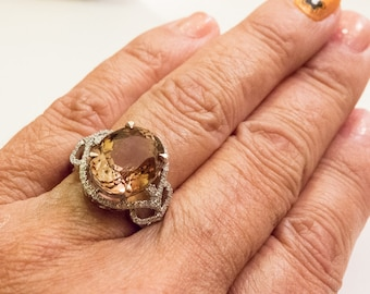 Solid 14K YG 5 Star Gorgeous Imperial Topaz and Diamond Ring, size 6.75 - BEST !
