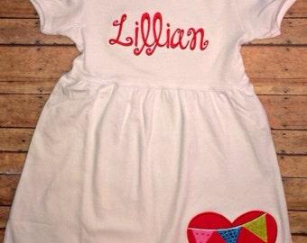 Girls Valentines Dress, Valentines Day Dress, Girls Heart Dress, Custom Heart Dress