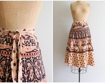 vintage 70s hippie wrap skirt - India cotton skirt / 1970s bohemian wrap skirt- paisley block print skirt / 60s Indian cotton boho skirt