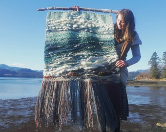 """Ripple Effect - woven wall tapestry 48""""×66"""""""
