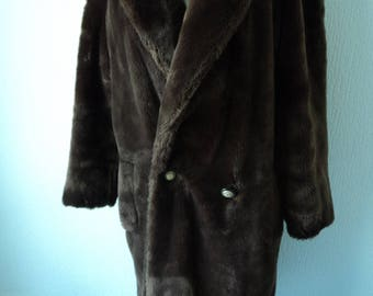 REDUCED - Vintage brown faux fur fully lined long coat