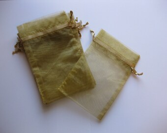 Set of 10 Old Gold Organza Bags (5x8)