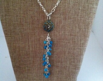 Turquoise charm y necklace