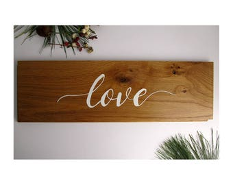Wood Love Wall Sign | Rustic Farmhouse Sign | Oak Wall Sign | Home Décor |