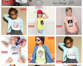 Printing bespoke designs  on customers t-shirts