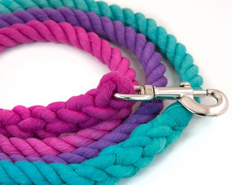 """Dog Rope Leash """"The Maya"""" in Green, Purple, and Pink"""