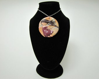 A Girl in the Wind - Girl in the wind sculpted polymer clay pendant necklace