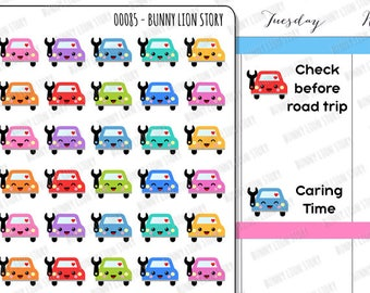 00085 | 40 Cute Car Routine Check  Repair Maintenance Schedule Appointment Reminder Candy Colors Kawaii Planner Agenda Journal Stickers