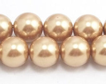 Large 16mm Gold Glass Pearls - 15.5 inch strand