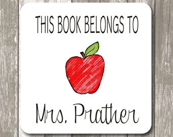 """Teacher Gift - This book belongs to label stickers - 2"""" x 2"""" White Photo Gloss, Personalized Teacher Gift,  Back to School Gifts"""